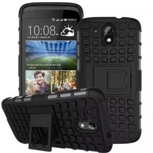 Противоударный двухкомпонентный силиконовый матовый непрозрачный чехол с поликарбонатными вставками экстрим защиты с встроенной ножкой-подставкой для HTC Desire 526  Черный