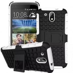 Противоударный двухкомпонентный силиконовый матовый непрозрачный чехол с поликарбонатными вставками экстрим защиты с встроенной ножкой-подставкой для HTC Desire 526  Белый