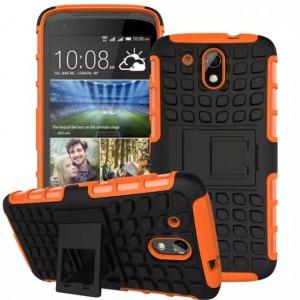 Противоударный двухкомпонентный силиконовый матовый непрозрачный чехол с поликарбонатными вставками экстрим защиты с встроенной ножкой-подставкой для HTC Desire 526  Оранжевый