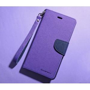 Чехол портмоне подставка на силиконовой основе с тканевым покрытием на магнитной защелке для HTC Desire 820  Фиолетовый