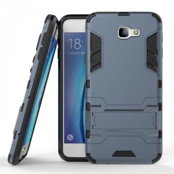 Противоударный двухкомпонентный силиконовый матовый непрозрачный чехол с поликарбонатными вставками экстрим защиты с встроенной ножкой-подставкой для Samsung Galaxy J5 Prime