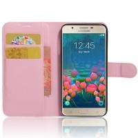 Чехол портмоне подставка на силиконовой основе на магнитной защелке для Samsung Galaxy J5 Prime Розовый