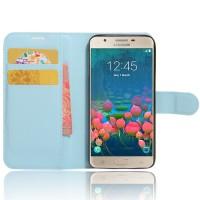 Чехол портмоне подставка на силиконовой основе на магнитной защелке для Samsung Galaxy J5 Prime Голубой