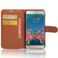 Чехол портмоне подставка на силиконовой основе на магнитной защелке для Samsung Galaxy J5 Prime Коричневый