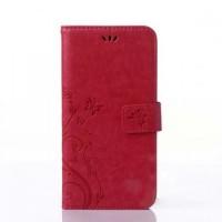 Чехол портмоне подставка текстура Узоры на силиконовой основе на магнитной защелке для Samsung Galaxy J5 Prime Красный