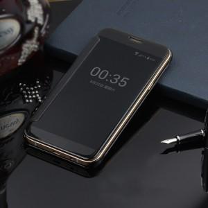 Пластиковый непрозрачный матовый чехол с полупрозрачной крышкой с зеркальным покрытием для Samsung Galaxy J5 Prime