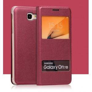 Чехол горизонтальная книжка на пластиковой основе с окном вызова и свайпом для Samsung Galaxy J5 Prime