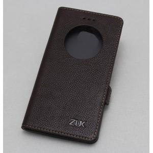 Кожаный чехол горизонтальная книжка подставка с окном вызова и крепежной застежкой для ZUK Z2  Коричневый