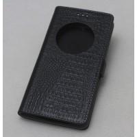 Кожаный чехол горизонтальная книжка подставка с окном вызова и крепежной застежкой для ZUK Z2  Черный
