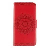Винтажный чехол портмоне подставка на силиконовой основе с полноповерхностным принтом на магнитной защелке для Sony Xperia X Performance  Красный