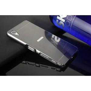 Двухкомпонентный чехол c металлическим бампером с поликарбонатной накладкой и текстурным покрытием Металл для Sony Xperia X Performance  Черный