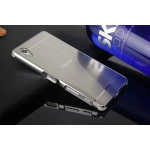 Двухкомпонентный чехол c металлическим бампером с поликарбонатной накладкой и текстурным покрытием Металл для Sony Xperia X Performance  Белый