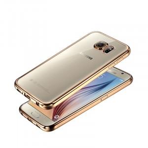 Силиконовый матовый полупрозрачный чехол с текстурным покрытием Металлик для Samsung Galaxy Note 5  Бежевый