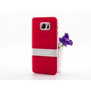 Двухкомпонентный силиконовый матовый полупрозрачный чехол с поликарбонатным бампером и встроенной ножкой-подставкой для Samsung Galaxy Note 5 Красный