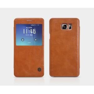 Винтажный чехол горизонтальная книжка на пластиковой основе с окном вызова для Samsung Galaxy Note 5 Коричневый