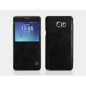 Винтажный чехол горизонтальная книжка на пластиковой основе с окном вызова для Samsung Galaxy Note 5 Черный