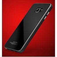 Двухкомпонентный чехол c металлическим бампером с поликарбонатной накладкой и поверхностью из закаленного стекла для Samsung Galaxy Note 5  Черный