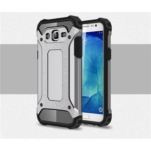 Противоударный двухкомпонентный силиконовый матовый непрозрачный чехол с поликарбонатными вставками экстрим защиты для Samsung Galaxy J7 Серый