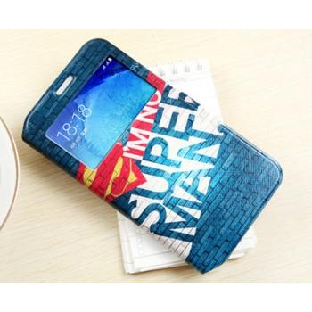 Чехол горизонтальная книжка подставка на пластиковой основе с окном вызова и полноповерхностным принтом на магнитной защелке для Samsung Galaxy J7