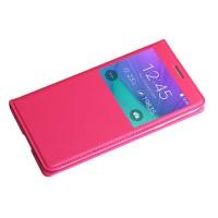 Чехол горизонтальная книжка на пластиковой встраиваемой основе с окном вызова для Samsung Galaxy J7  Пурпурный