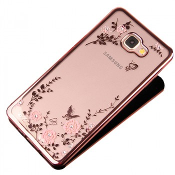 Силиконовый глянцевый полупрозрачный чехол с текстурным покрытием Металлик для Samsung Galaxy A3 (2016)