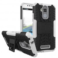 Противоударный двухкомпонентный силиконовый матовый непрозрачный чехол с поликарбонатными вставками экстрим защиты с встроенной ножкой-подставкой для Asus ZenFone 3 Max Белый