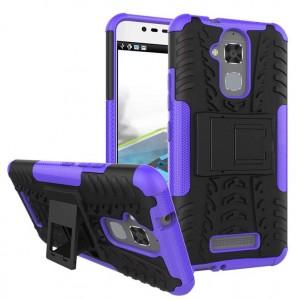Противоударный двухкомпонентный силиконовый матовый непрозрачный чехол с поликарбонатными вставками экстрим защиты с встроенной ножкой-подставкой для Asus ZenFone 3 Max Фиолетовый