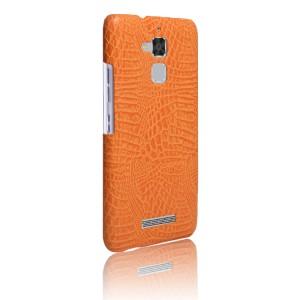Чехол накладка текстурная отделка Кожа для Asus ZenFone 3 Max  Оранжевый