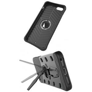 Противоударный двухкомпонентный силиконовый матовый непрозрачный чехол с поликарбонатными вставками экстрим защиты с встроенной ножкой-подставкой для Asus ZenFone 3 Max  Серый