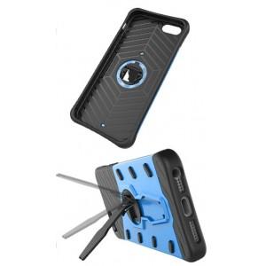 Противоударный двухкомпонентный силиконовый матовый непрозрачный чехол с поликарбонатными вставками экстрим защиты с встроенной ножкой-подставкой для Asus ZenFone 3 Max  Синий
