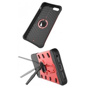 Противоударный двухкомпонентный силиконовый матовый непрозрачный чехол с поликарбонатными вставками экстрим защиты с встроенной ножкой-подставкой для Asus ZenFone 3 Max  Красный