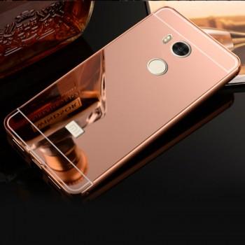 Двухкомпонентный чехол c металлическим бампером с поликарбонатной накладкой и зеркальным покрытием для Xiaomi RedMi 4 Pro Розовый