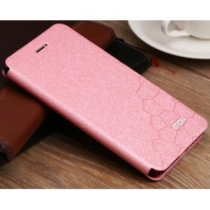 Чехол горизонтальная книжка подставка текстура Соты на силиконовой основе для Xiaomi RedMi 4  Розовый