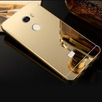 Двухкомпонентный чехол c металлическим бампером с поликарбонатной накладкой и зеркальным покрытием для Xiaomi RedMi 4 Бежевый