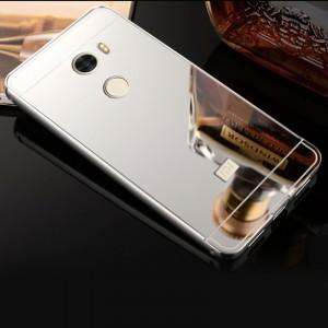 Двухкомпонентный чехол c металлическим бампером с поликарбонатной накладкой и зеркальным покрытием для Xiaomi RedMi 4 Белый