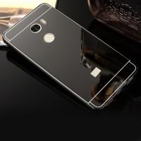 Двухкомпонентный чехол c металлическим бампером с поликарбонатной накладкой и зеркальным покрытием для Xiaomi RedMi 4 Черный