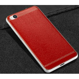 Силиконовый матовый непрозрачный чехол с текстурным покрытием Кожа для Xiaomi RedMi 4A Красный