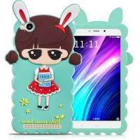 Силиконовый матовый непрозрачный дизайнерский фигурный чехол для Xiaomi RedMi 4A  Голубой