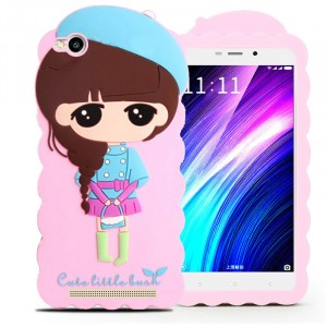 Силиконовый матовый непрозрачный дизайнерский фигурный чехол для Xiaomi RedMi 4A Розовый
