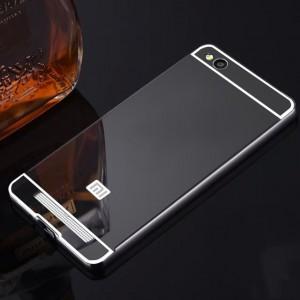 Двухкомпонентный чехол c металлическим бампером с поликарбонатной накладкой и зеркальным покрытием для Xiaomi RedMi 4A Черный
