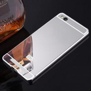Двухкомпонентный чехол c металлическим бампером с поликарбонатной накладкой и зеркальным покрытием для Xiaomi RedMi 4A Белый