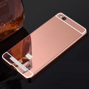 Двухкомпонентный чехол c металлическим бампером с поликарбонатной накладкой и зеркальным покрытием для Xiaomi RedMi 4A Розовый