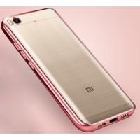 Силиконовый матовый полупрозрачный чехол с текстурным покрытием Металлик для Xiaomi Mi5S  Розовый
