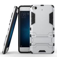 Противоударный двухкомпонентный силиконовый матовый непрозрачный чехол с поликарбонатными вставками экстрим защиты с встроенной ножкой-подставкой для Xiaomi Mi5S  Белый