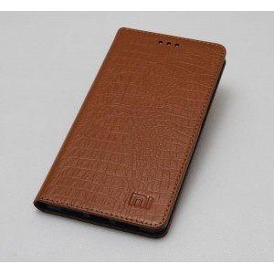 Кожаный чехол горизонтальная книжка (премиум нат. кожа крокодила) с крепежной застежкой для Xiaomi Mi5S  Бежевый