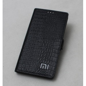 Кожаный чехол горизонтальная книжка (премиум нат. кожа крокодила) с крепежной застежкой для Xiaomi Mi5S  Черный