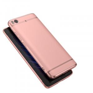 Пластиковый непрозрачный матовый металлик чехол с улучшенной защитой элементов корпуса для Xiaomi Mi5S  Розовый