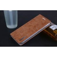 Винтажный чехол горизонтальная книжка подставка на пластиковой основе с отсеком для карт на присосках для Xiaomi Mi5S Plus  Коричневый