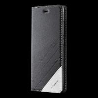 Чехол горизонтальная книжка подставка текстура Линии на силиконовой основе для Xiaomi Mi5S Plus Черный
