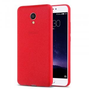Силиконовый матовый непрозрачный чехол с нескользящим софт-тач покрытием для Meizu M3E  Красный